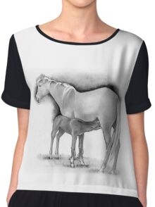 Foal and Mare, Horse Mother and Baby, Pencil Drawing Chiffon Top