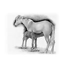 Foal and Mare, Horse Mother and Baby, Pencil Drawing by Joyce Geleynse