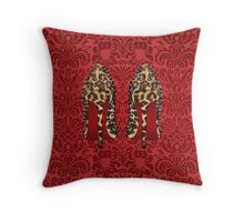 Leopard Louboutin on Red damask background Throw Pillow