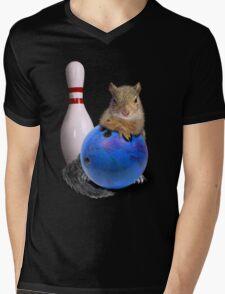 Bowling Squirrel Mens V-Neck T-Shirt