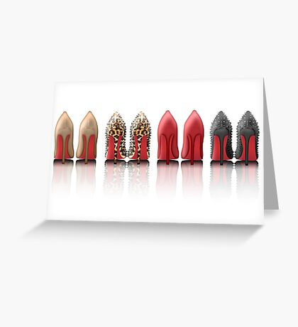 My Louboutin Collection : Black Spiked Leopard Red Nude Greeting Card
