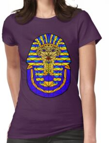Geometric Tutankhamun in colour with black outline. Womens Fitted T-Shirt