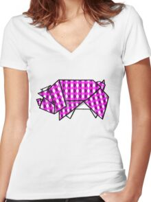 Origami Pig Women's Fitted V-Neck T-Shirt