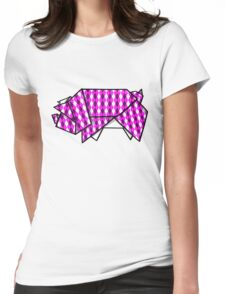 Origami Pig Womens Fitted T-Shirt