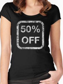 50% Off - White Women's Fitted Scoop T-Shirt