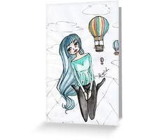 Girls and balloons - Manga Greeting Card