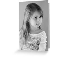 Girl Portrait in Black and White Greeting Card