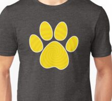Dog Paw Print, Yellow Spiral Unisex T-Shirt