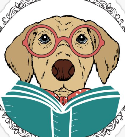 Reading Dog Sticker