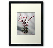 nectarine blossom in round vase Framed Print