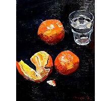 Oranges and glass Photographic Print