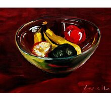 Fruit bowl on brown Photographic Print