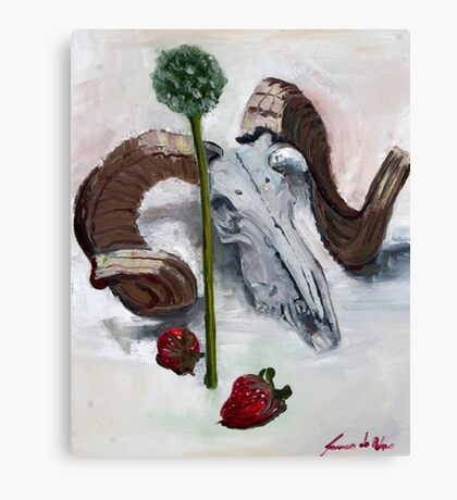 Ram chives and strawberries  Canvas Print