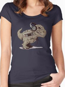 Record Store Day : Dino Loves Music Women's Fitted Scoop T-Shirt