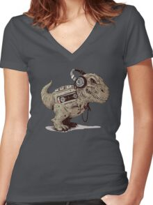 Record Store Day : Dino Loves Music Women's Fitted V-Neck T-Shirt