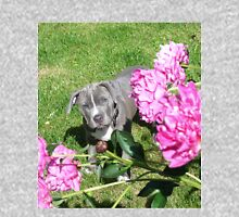 Gorgeous Baby Pit Bull Puppy Dog in Peony Flowers Unisex T-Shirt