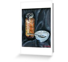 preserved apricots  with bowl and spoon Greeting Card