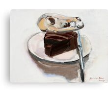 Dog on chocolate cake.     Canvas Print