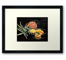 Pineapple with quinces in glass bowl      Framed Print