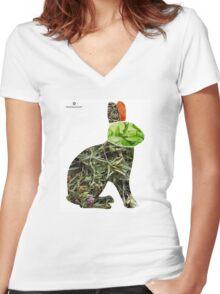healthy rabbit diet Women's Fitted V-Neck T-Shirt