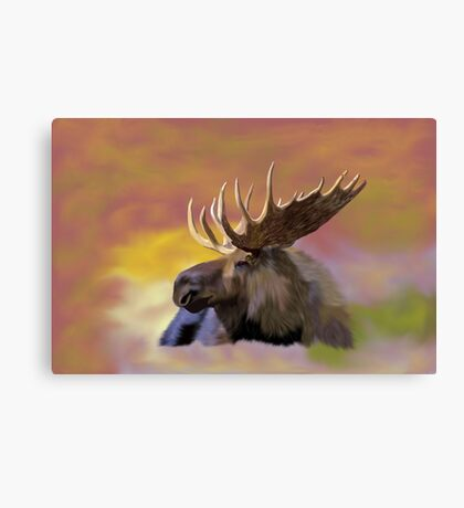 Autumn Bull Moose Art Print Canvas Print