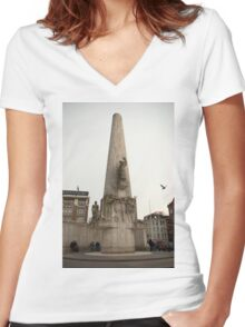 National Monument Amsterdam Women's Fitted V-Neck T-Shirt