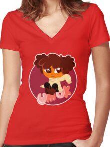 Clara - Um Ok Women's Fitted V-Neck T-Shirt