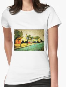 A digital painting, using DAP, of The Crown Inn, Smallburgh, Norfolk 15th century Womens Fitted T-Shirt