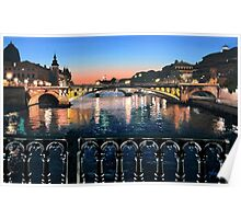 Original Painting: Pont d'Arcole, Paris, France. Poster