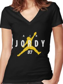Air Jordy Green Bay Packers Jordy Nelson Women's Fitted V-Neck T-Shirt
