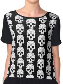 White Ouija Skull on Black Background Chiffon Top