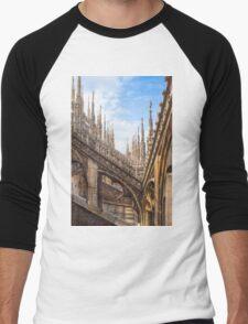 a forest of sculptures. Duomo. Milano. Men's Baseball ¾ T-Shirt