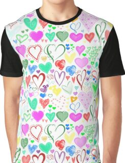 Love, Romance, Hearts - Red Blue Pink Green Graphic T-Shirt