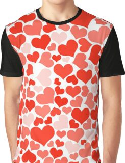 Love, Romance, Hearts - Red White Graphic T-Shirt