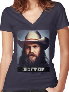 Chris Stapleton Women's Fitted V-Neck T-Shirt
