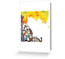 Calvin and Hobbes Under Tree Greeting Card
