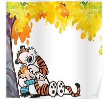 Calvin and Hobbes Under Tree Poster