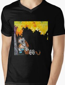 Calvin and Hobbes Under Tree Mens V-Neck T-Shirt