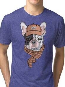 Hipster dog  French Bulldog Tri-blend T-Shirt