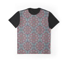 """""""Flowers and laurels"""" arabesque pattern in grey and red colours, bohemian style Graphic T-Shirt"""