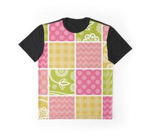 Zigzag, Polka Dots, Gingham - Green Pink Yellow Graphic T-Shirt