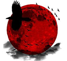 Moon - Red Moon and Birds Photographic Print