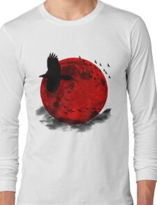 Moon - Red Moon and Birds Long Sleeve T-Shirt