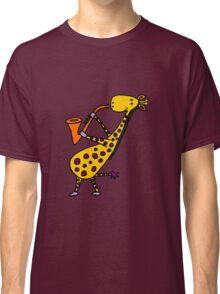 Funny Cool Giraffe Playing Orange Saxophone Classic T-Shirt