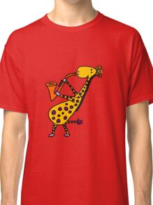 Funny Cool Giraffe Playing Orange Saxophone Classic T-Shirt