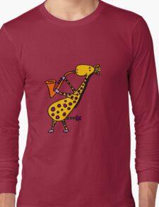 Funny Cool Giraffe Playing Orange Saxophone Long Sleeve T-Shirt
