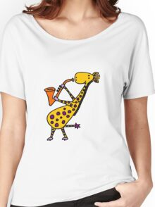 Funny Cool Giraffe Playing Orange Saxophone Women's Relaxed Fit T-Shirt