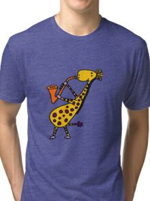 Funny Cool Giraffe Playing Orange Saxophone Tri-blend T-Shirt