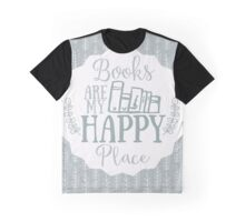 Books Are My Happy Place - Blue Graphic T-Shirt