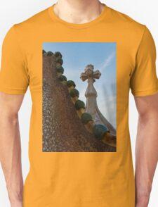 Capricious Trencadis Mosaics - Antoni Gaudi's Dragon's Back and Cross Turret at Casa Batllo T-Shirt